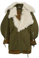 Balenciaga Oversized Shearling-lined Cotton-twill Parka - Army green