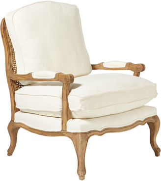 OKA Chantal French-Style Linen Armchair - Off-White