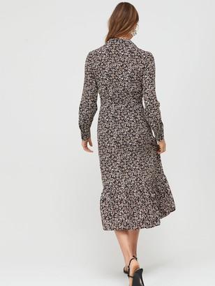 Very Tie Waist Printed Shirt Dress - Print