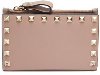 Valentino Rockstud Leather Card And Coin Purse - Womens - Nude