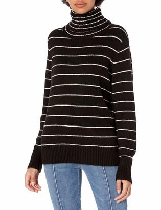 Kensie Women's Soft Fuzzy Knit Striped Turtleneck Sweater