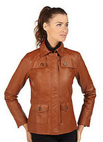 Isaac Mizrahi Live! Zip Front Leather Jacket with Pockets