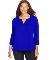 INC International Concepts Plus Size Mixed-Media Blouse