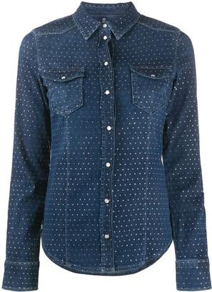 Liu Jo Rhinestone-Embellished Denim Shirt