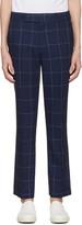 Paul Smith Navy Windowpane Check Trousers