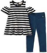 Kate Spade Girls' Striped Cold-Shoulder Top & Leggings Set - Little Kid