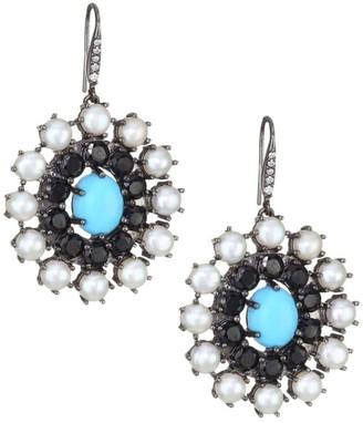 Turquoise, White Pearl & Diamond Disc Earrings
