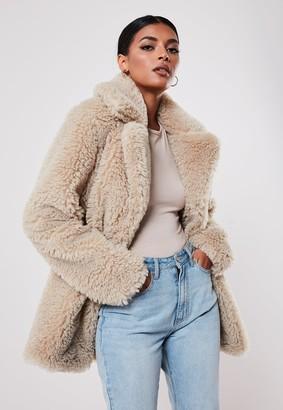 Missguided Beige Faux Fur Short Collar Coat