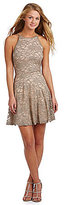Honey and Rosie Glitter Lace High Neckline Illusion-Back Fit-and-Flare Dress