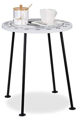 Relaxdays Small Coffee Table, Round Side Table in Coffee Shop Design, MDF & Metal, HWD: 46.5x40x40cm, Black/White
