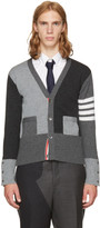 Thom Browne Grey Classic Four Bar Funmix V-neck Cardigan