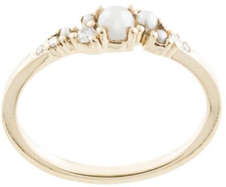 Natalie Marie 14kt yellow gold Alula pearl and diamond cluster ring