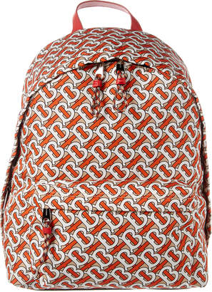 Burberry Jett Monogram Print Nylon & Leather Backpack
