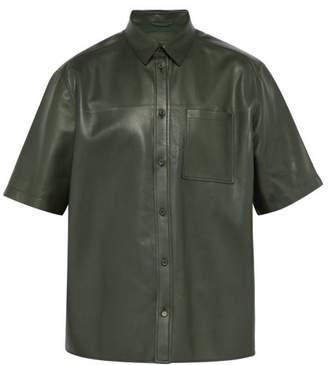 Bottega Veneta Boxy-fit Leather Shirt - Mens - Green