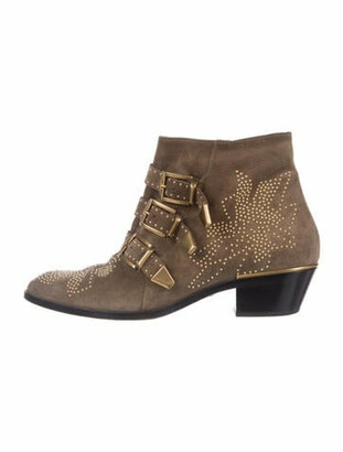 Chloé Susanna Suede Western Boots Green