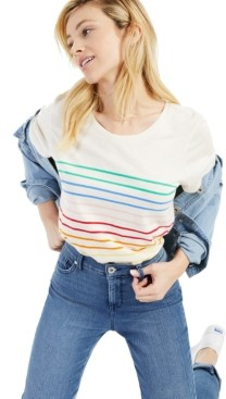 Style&Co. Style & Co Striped Crewneck Cotton T-Shirt, Created for Macy's