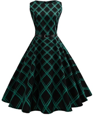 TUDUZ 2018 Women Vintage Floral Bodycon Plaid Sleeveless Casual Evening Party Dress 50s Retro Audrey Hepburn Swing Rockabilly Dress Pleated Skirt (Green M)