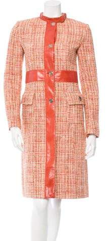 Dolce & Gabbana Watersnake-Trimmed Tweed Coat
