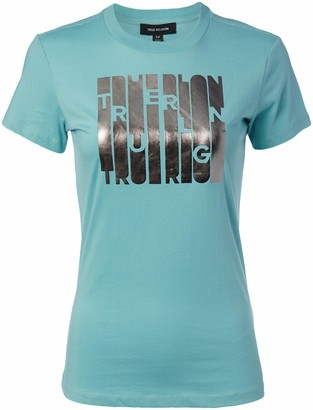 True Religion Women's Logo Foil Short Sleeve Slim fit Crewneck Tee