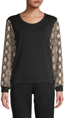 Supply & Demand Snakeskin-Print Long-Sleeve Top