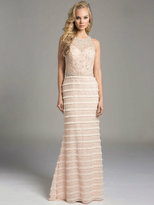 Lara Dresses - Beaded Halter Illusion Sheath Evening Gown with Fringe and Rhinestone Adornments 33224