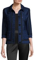St. John Khari Sequined Knit 3/4-Sleeve Jacket, Blue/White