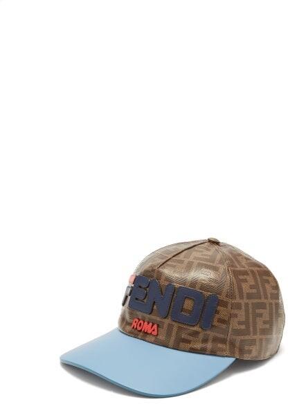 Fendi Mania Logo Applique Cap - Womens - Brown