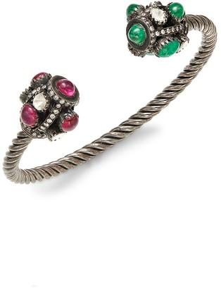 Amrapali 18K White Gold, Tourmaline, Emerald Diamond Cuff Bracelet