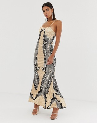 Bariano embellished patterned sequin fishtail maxi dress with strappy back in mutli