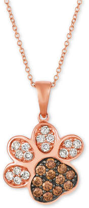 "LeVian Le Vian Nude & Chocolate Diamond Paw Print 20"" Pendant Necklace (3/4 ct. t.w.) in 14k Rose Gold"