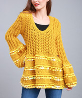 Couture Simply Women's Pullover Sweaters MUSTARD - Mustard V-Neck Sequin-Stripe Sweater - Women