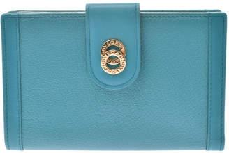 Bvlgari Turquoise Blue Doppio Tode Leather Wallet