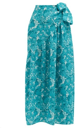 Adriana Degreas Floral-print Silk-crepe Wrap Skirt - Blue Print