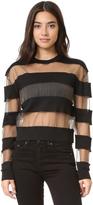 McQ by Alexander McQueen Alexander McQueen Sheer Stripe Pullover Top