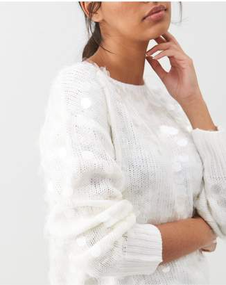 River Island Sequin Loose Knitted Jumper - Cream