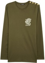 Balmain Olive Embroidered Cotton Top
