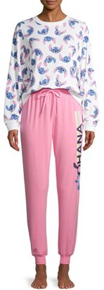 Disney Disney's Stitch Women's and Women's Plus Long Sleeve Top and Joggers Sleep Set
