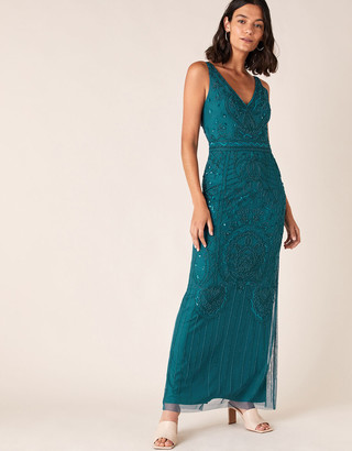 Monsoon Marisa Embellished Maxi Dress in Recycled Fabric Teal