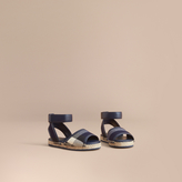 Burberry Leather Ankle Strap and House Check Espadrille Sandals