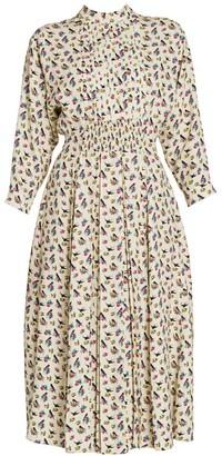 Prada Raso Floral & Swallow Print Midi Dress