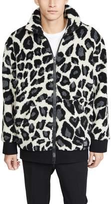 MSGM Leopard Fleece Full Zip Jacket