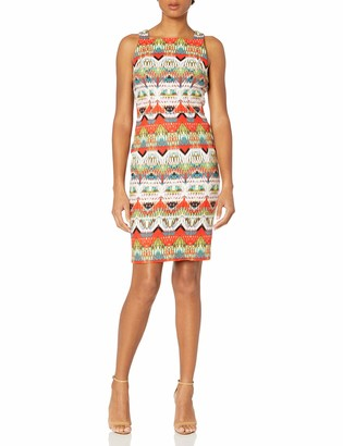 Maggy London Women's Feather Ikat Stripe Square Neck Sheath