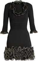 Alexander McQueen Ruffle-trimmed stretch-knit mini dress