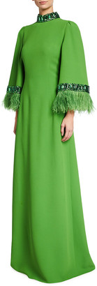 Andrew Gn Embellished High-Neck Feather Cady Gown