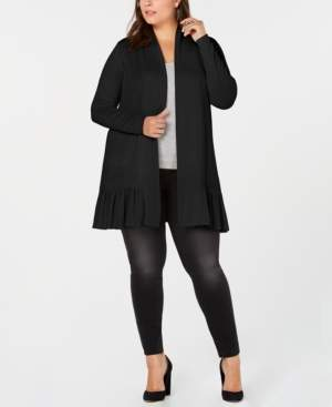Belldini Belle by Plus Size Ruffle-Hem Long Cardigan