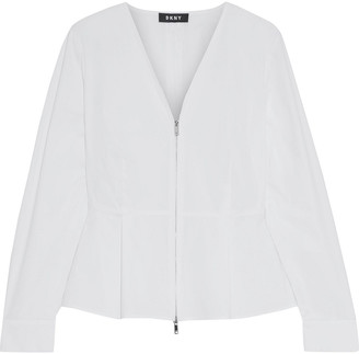DKNY Cotton-blend Poplin Peplum Top