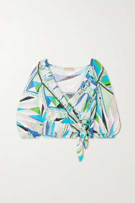 Emilio Pucci Printed Cotton-voile Wrap Top - Green