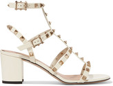 Valentino The Rockstud Patent-leather Sandals - Off-white