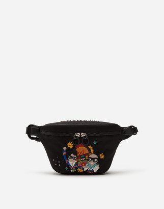 Dolce & Gabbana Sicilia Dna Fanny Pack In Nylon With Stylist Jukebox Patch