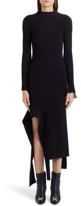 Off-White Knit Long Sleeve Asymmetrical Midi Dress